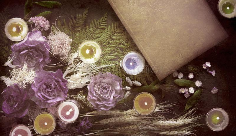 Book, colorful dried flowers. royalty free stock photos