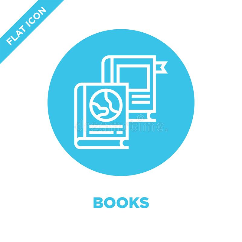 books icon vector from charity elements collection. Thin line books outline icon vector  illustration. Linear symbol for use on royalty free illustration