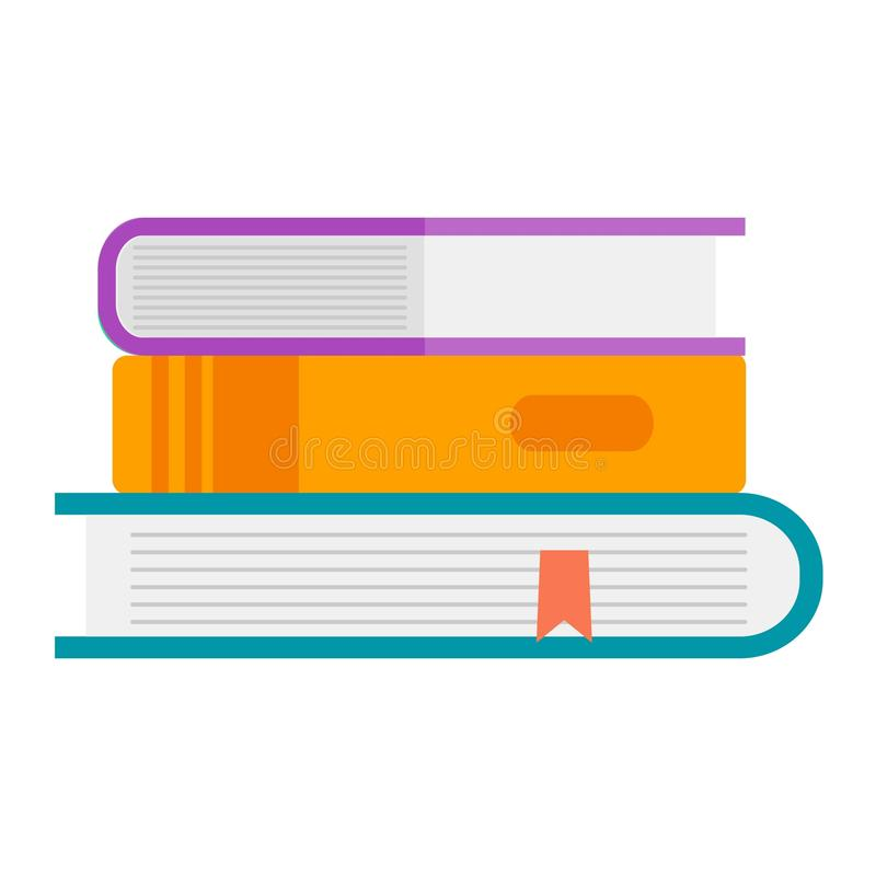 Books icon vector illustration. Books icon vector illustration in flat design style isolated on white. Academic learning symbol, reading school sign. Knowledge vector illustration