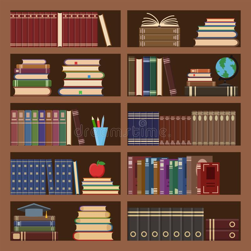 Free Books In Bookcase Seamless Pattern. School Book, Science Literature Textbook, Dictionary And Magazines Stack At University Old Royalty Free Stock Photos - 156162408