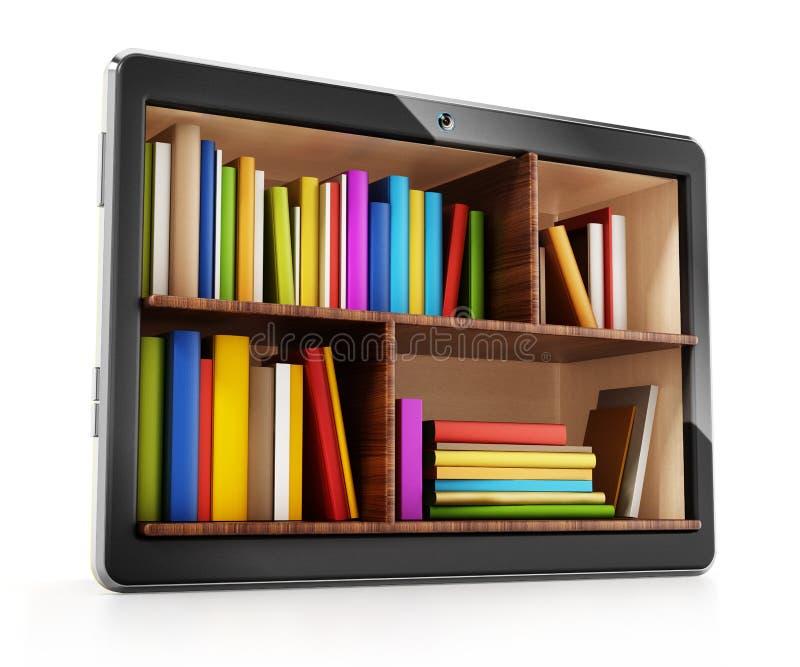 Books inside generic tablet PC. 3D illustration stock illustration