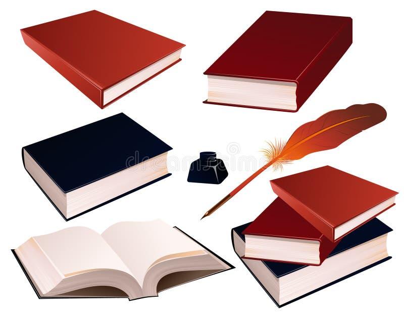 Books_on_isolated_background illustration stock
