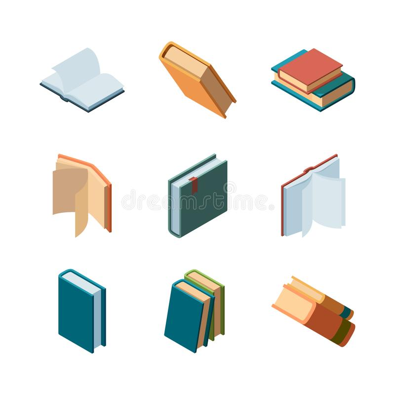 Books isometric. Diary open and closed magazines and books library colorful isometric vector collection. Illustration of literature knowledge, textbook and royalty free illustration
