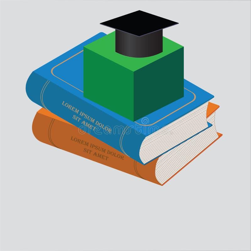 Books isometric image. Fulcolor designe elevrnt stock illustration