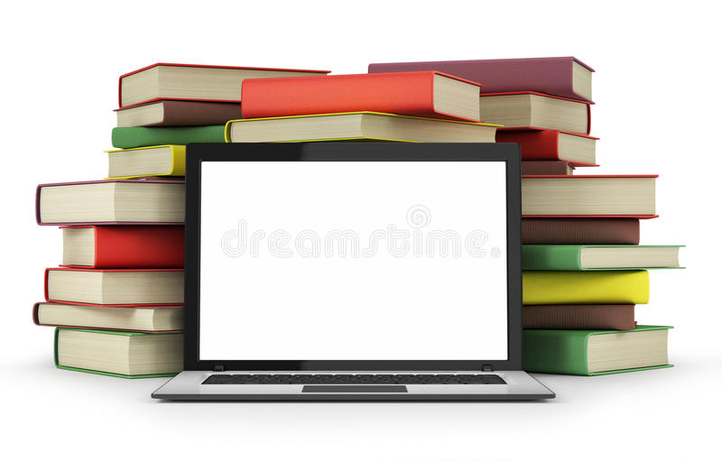 Books and laptop stock illustration