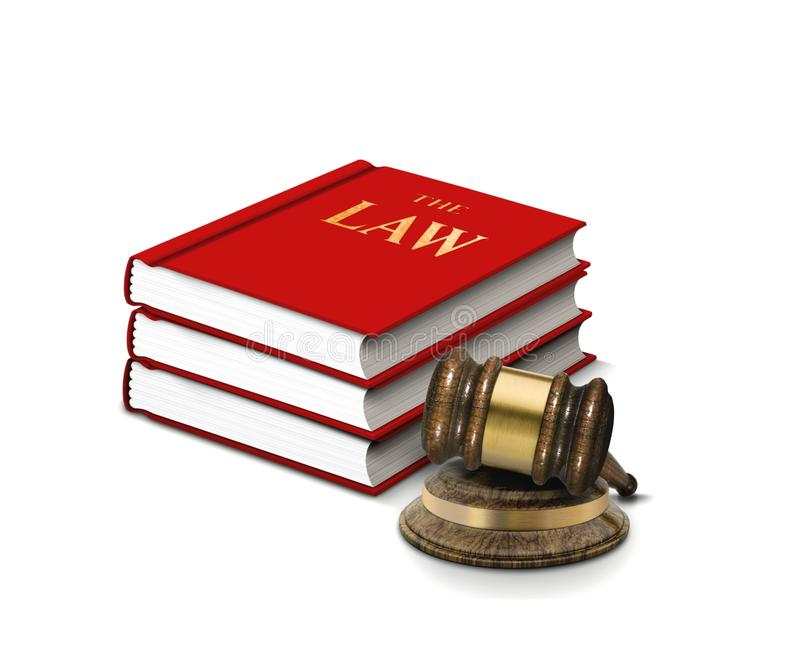 Books of law and gavel royalty free stock image
