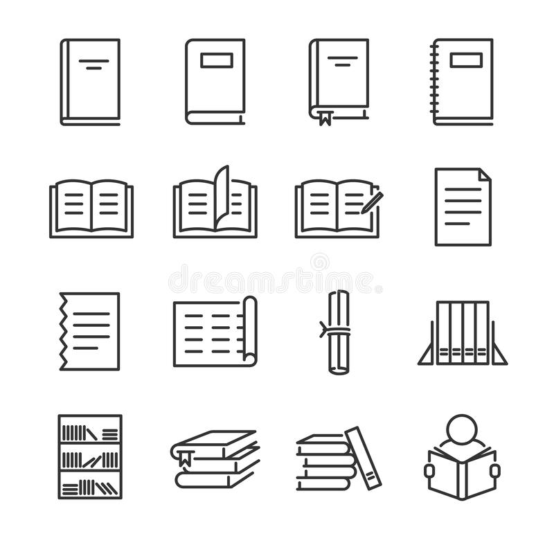 Books line icon set. Included the icons as book, study, learn, education, paper, document and more. Line icon vector: Books line icon set. Included the icons as royalty free illustration