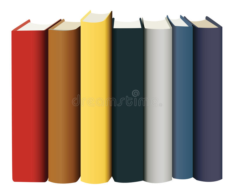 Books in multicolored covers vector illustration