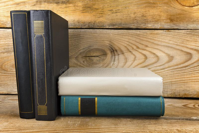 Books on old Bookshelf. Old books on an old, wooden bookshelf royalty free stock images