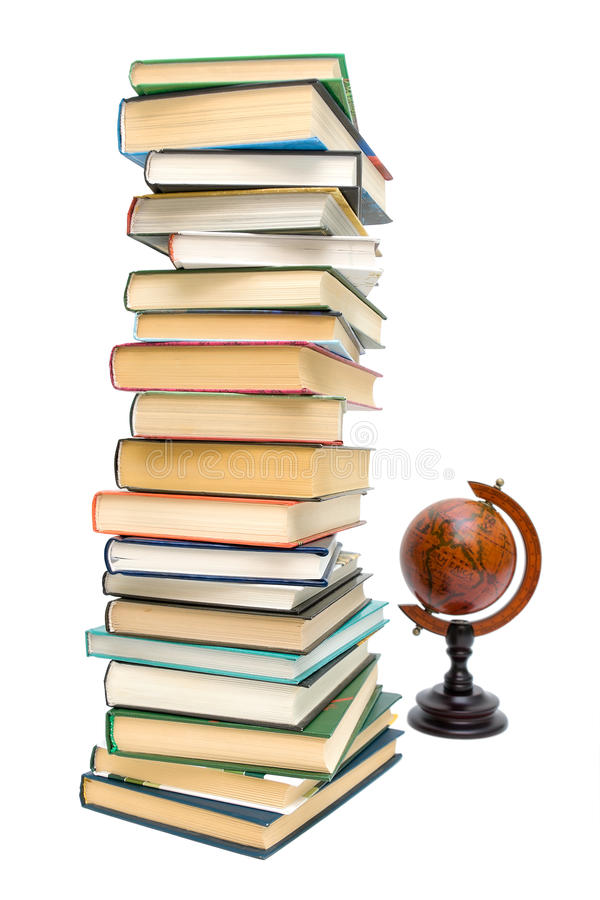 Books and old globe isolated on white background royalty free stock photos