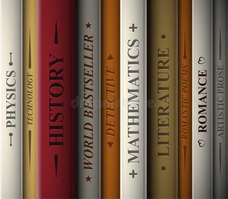 books olika genrer royaltyfri illustrationer