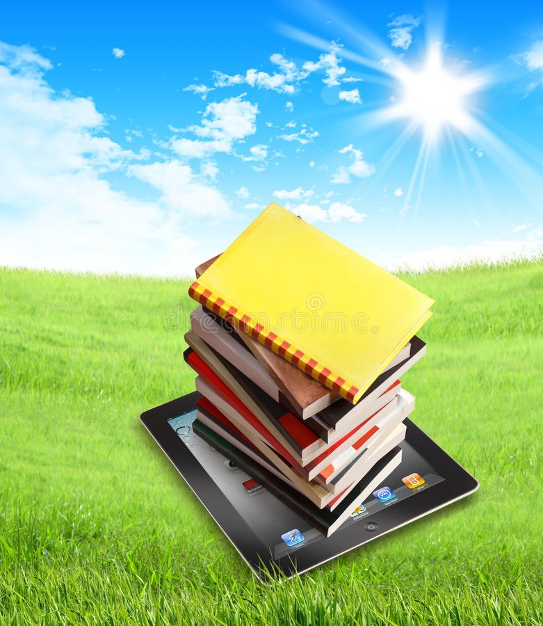 Free Books On Ipad In Nature - Clipping Path Royalty Free Stock Images - 26870309