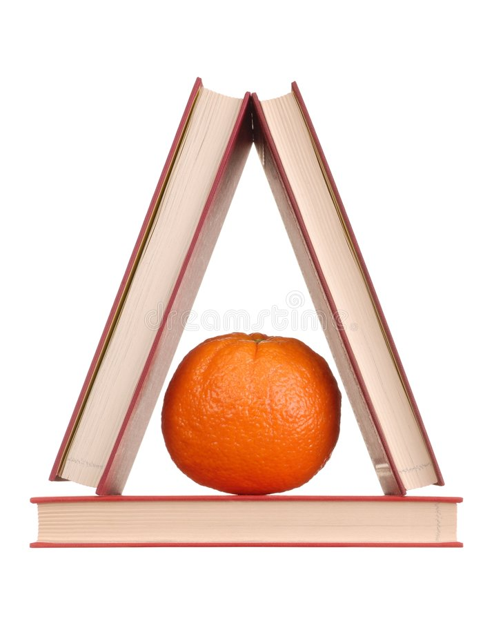 Books and Orange royalty free stock images