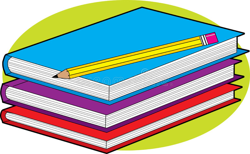 Books and Pencil. Stack of three colorful books with a pencil stock illustration