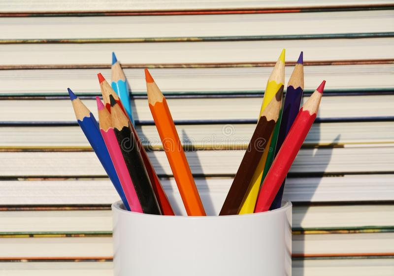 Books and pencil royalty free stock images