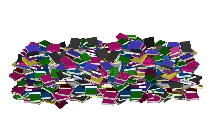 Books pile. Picture of books pile of different colors isolated in white background stock illustration