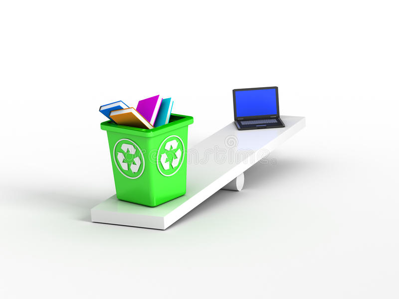 Download Books On Recycle Bin Vs Laptop Stock Illustration - Image: 19302252