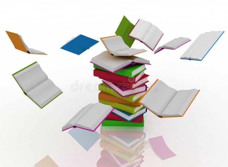 Books revolve around a stack of books. Open books revolve around a stack of books vector illustration