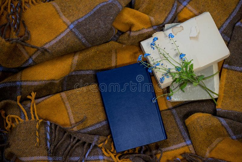 The books are scattered on the bed stock photography