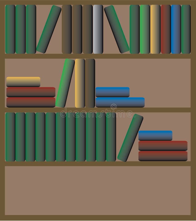 Books on shelf stock illustration