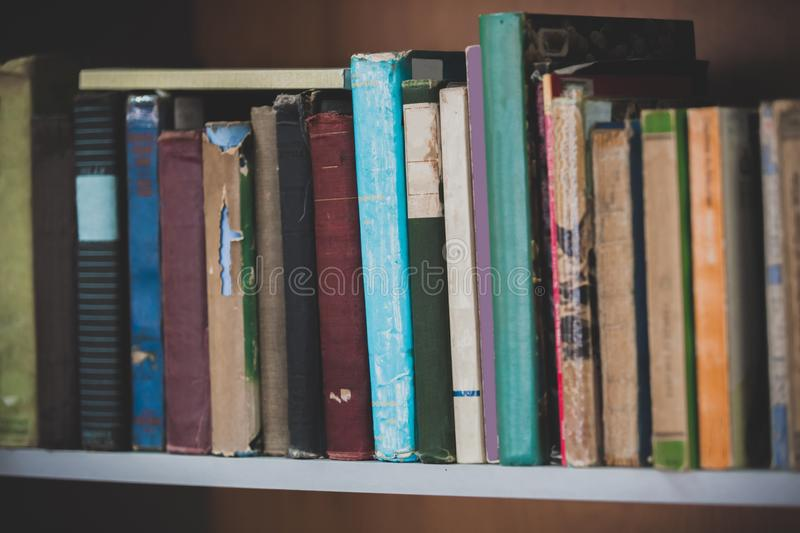 Books on the shelf stock photography