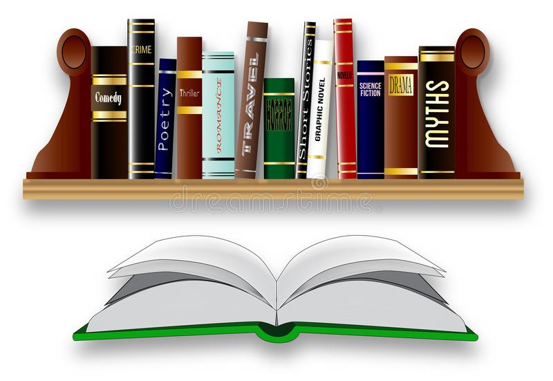 Books On A Shelf Isolated. A collection of books on a bookshelf each of a different genre with one open in the foreground stock illustration