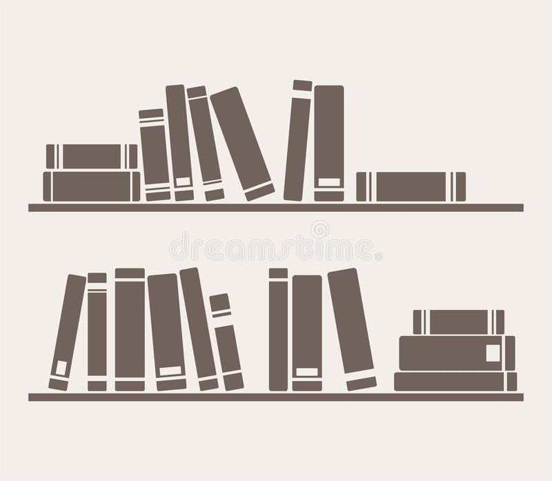 Books on the shelves simply retro vector royalty free illustration