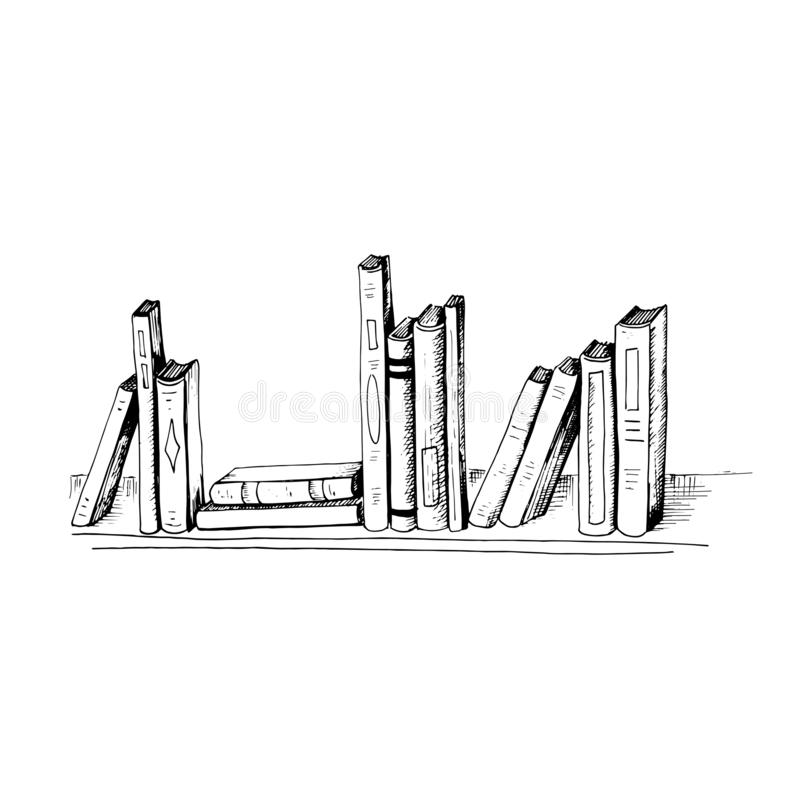 Books. Sketch style illustration different books are on the shelf. Hand drawn vector books, isolated on white stock illustration