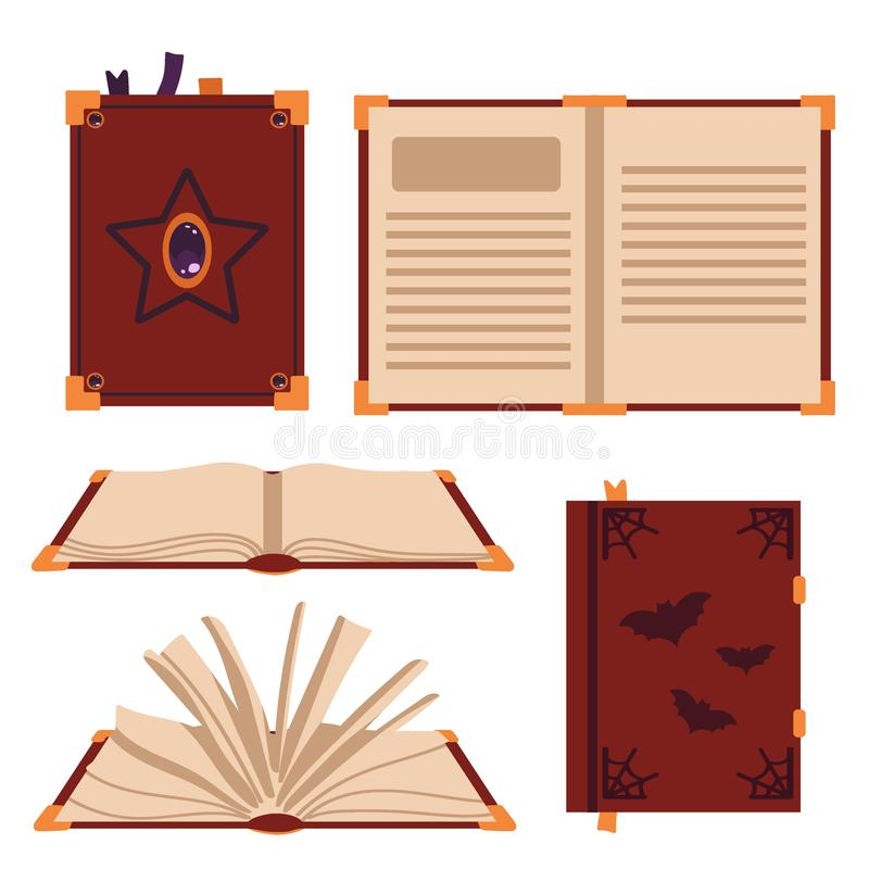 Books spell isolated on white background. Witch`s book. Vector illustration stock illustration