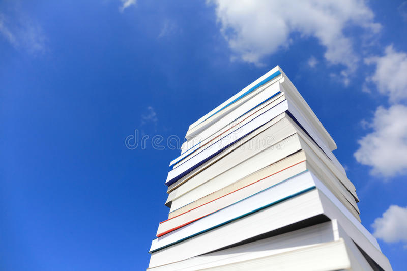 Books. Stack Of Books Against Blue Sky royalty free stock images