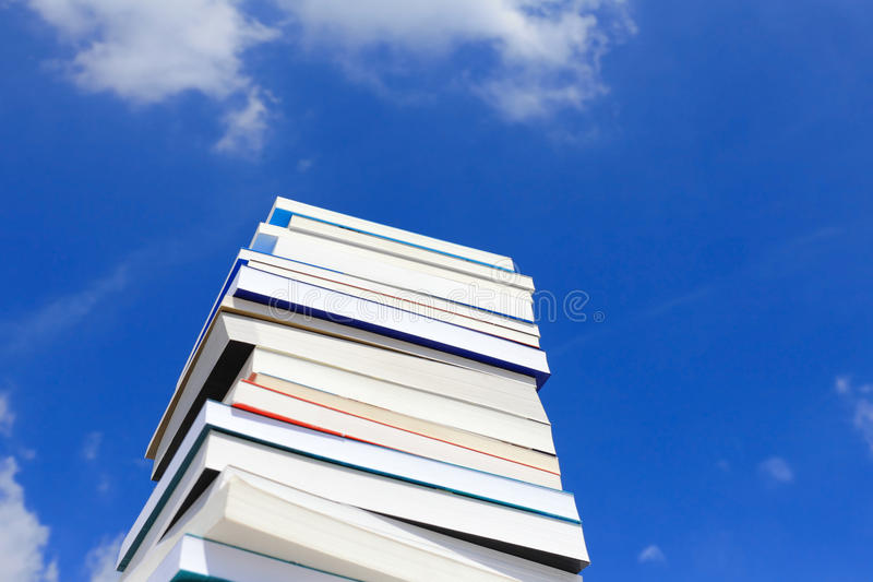 Books. Stack Of Books Against Blue Sky royalty free stock photos