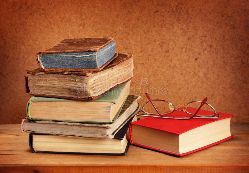 Download Books stack and glasses stock image. Image of school - 37940375