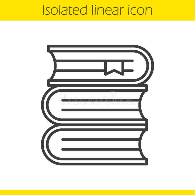Books stack linear icon stock illustration