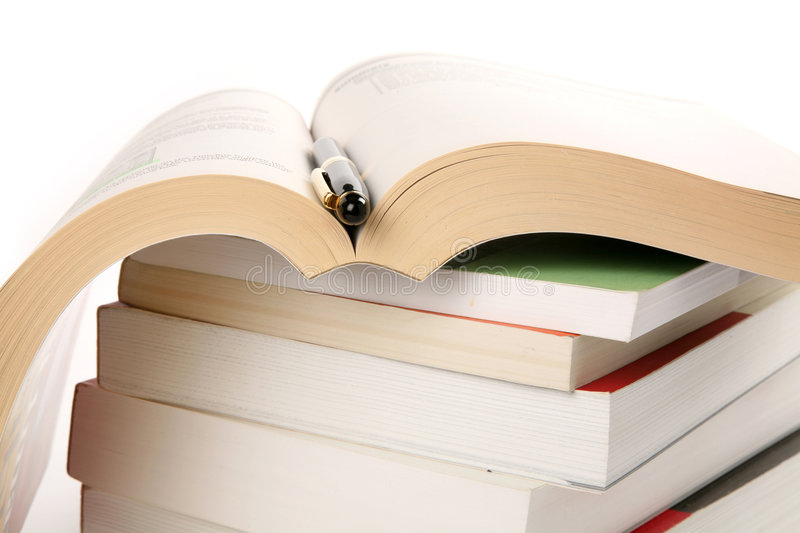 Download Books Stack and pen stock photo. Image of stacking, page - 2444642