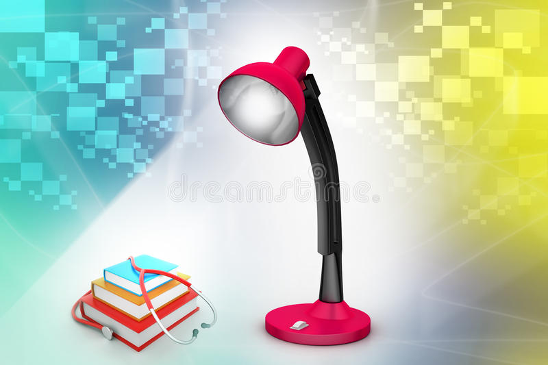 Books and stethoscope. Under the table lamp royalty free illustration