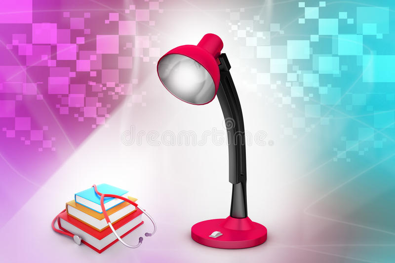 Books and stethoscope under the table lamp. In attractive color background vector illustration