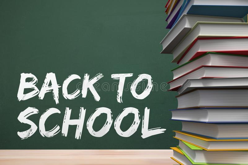 Books on the table against green blackboard with back to school text stock illustration