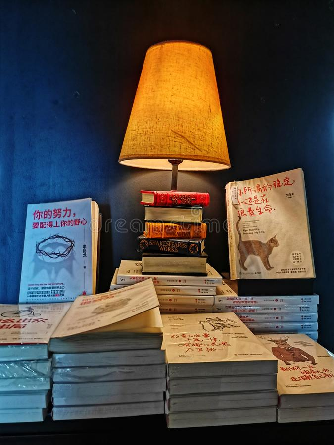 Books and table lamp royalty free stock photos