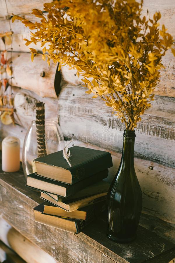 Books on the table. wooden background. vintage.autumn stock photo