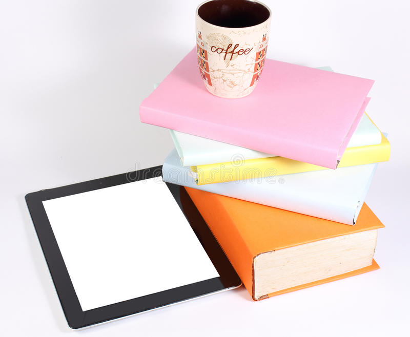 Books tablet PC glass stock photo