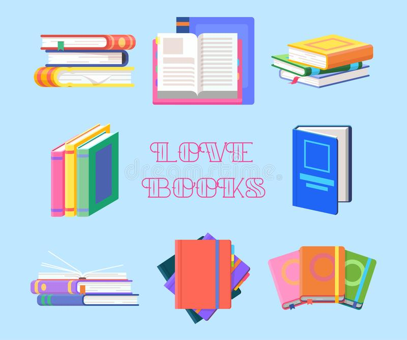 Textbook piles or book heap, textbook. Literature. Books with tassel or set of isolated textbook piles or heap, literature for study or encyclopedia for stock illustration