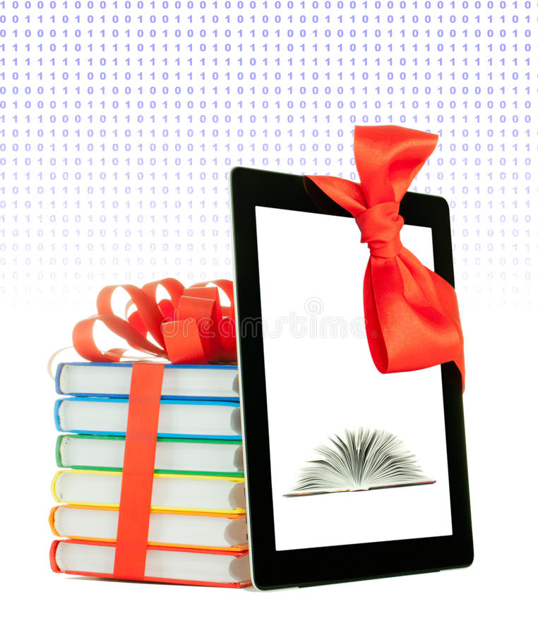 Free Books Tied Up With Ribbon And Tablet PC Stock Photography - 22839542
