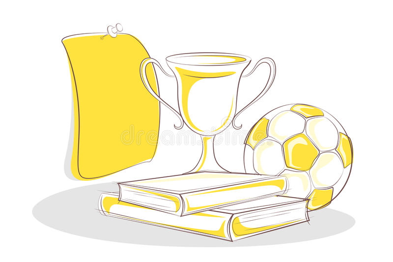 Books and Trophy stock illustration