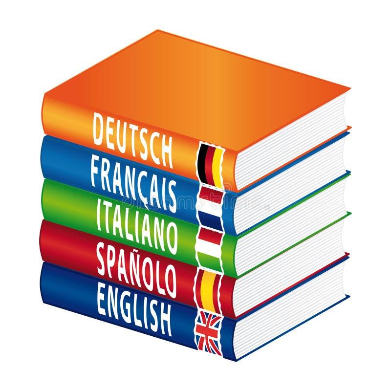 books utländska språk stock illustrationer