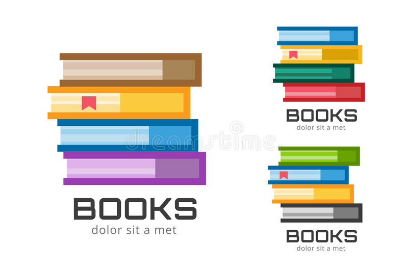 Books vector logo icons set. Sale background vector illustration