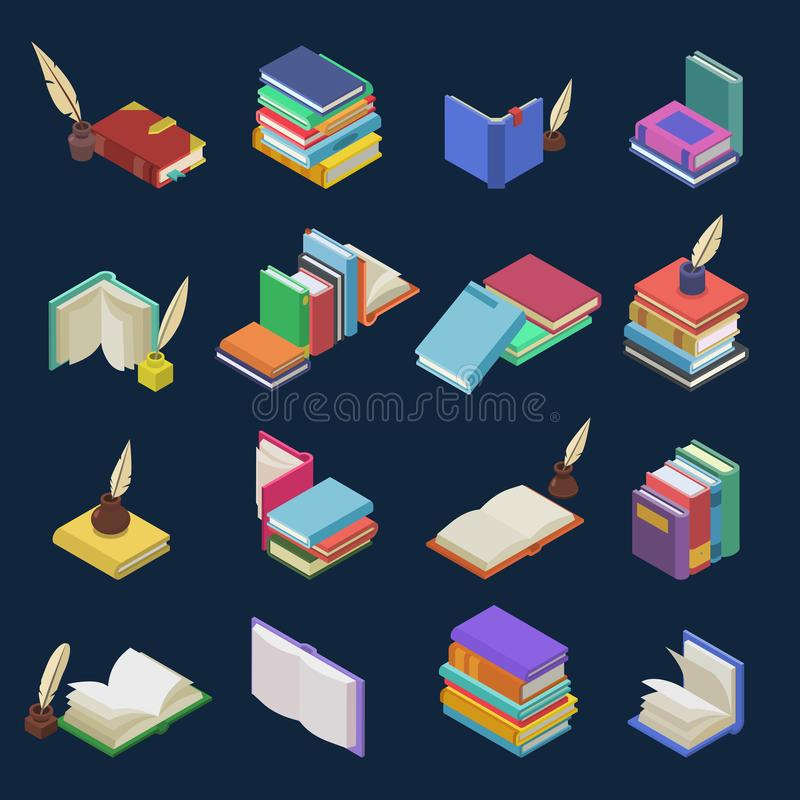 Books vector stack of textbooks and notebooks on bookshelves in library or bookstore illustration isometric set of. Bookish cover of school literature isolated stock illustration