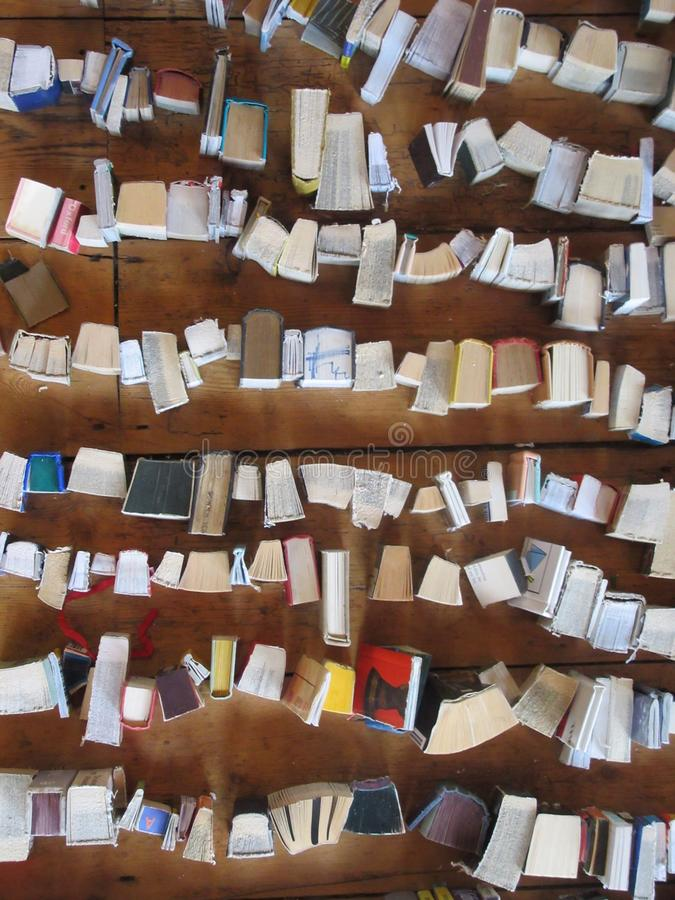 Books viewed from above stock photo