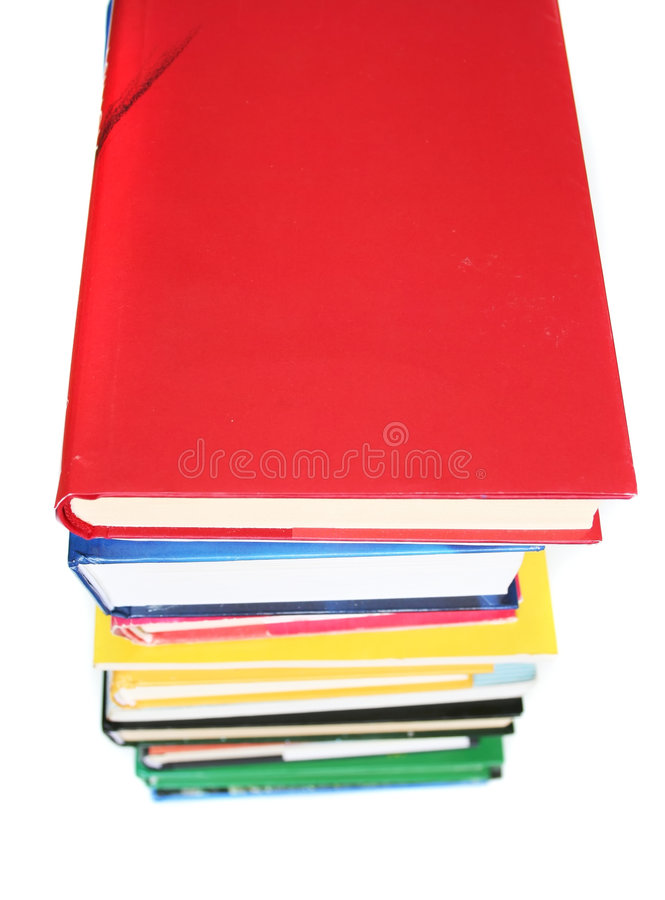 Books on white background. Isolated royalty free stock images