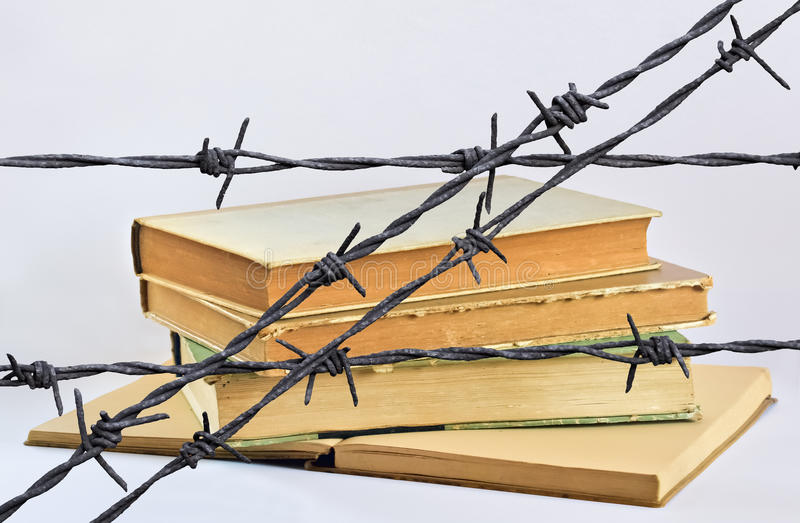 Books and wire royalty free stock photography