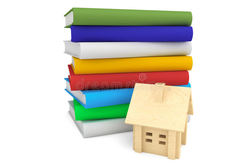 Books with wooden house royalty free illustration